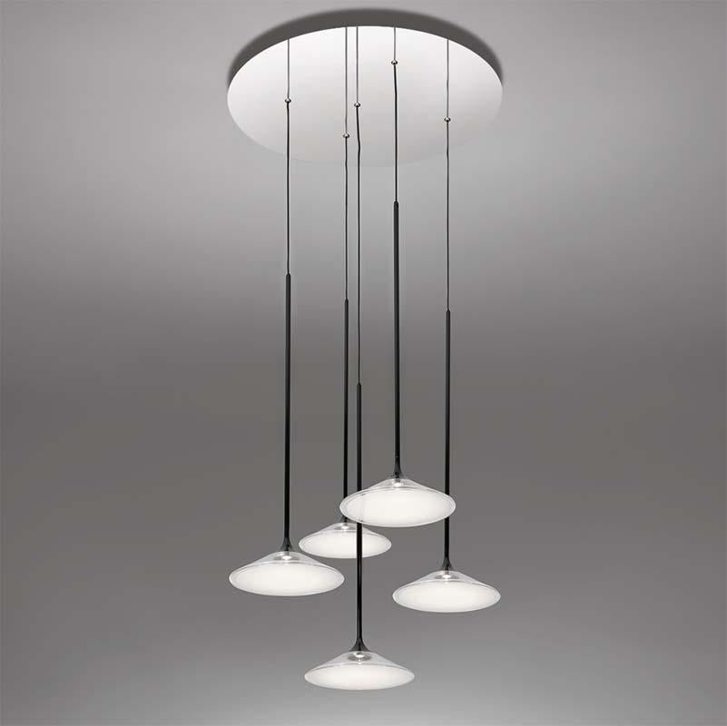 Artemide 0355038A Orsa 21 Inch 5X7W 2-Wire Dimmable Black Suspension LED Light - Seginus Lighting