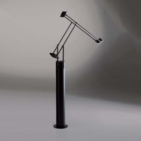 Artemide TIZ0100 Tizio 50W Black Classic Table Hal Light with Floor Support - Seginus Lighting