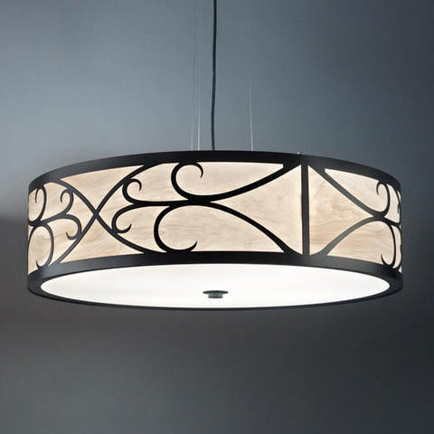 Tambour 13224-48-SFM Indoor/Outdoor Semi Flush Mount Pendant By Ultralights Lighting