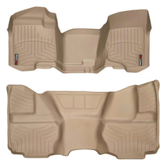 WeatherTech DigitalFit First & Second Row Over the Hump Floor Liners 2007-2013 Chevy/GMC 1500 - Tan