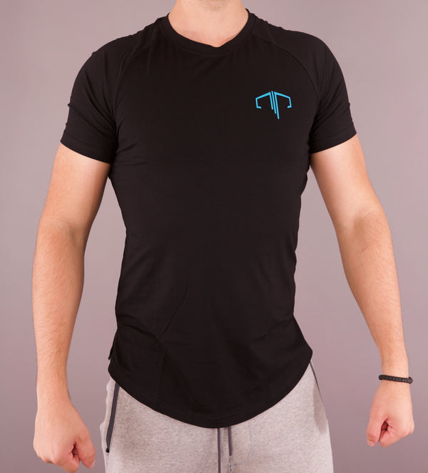 Performance Crew Neck Tee - Black/Blue