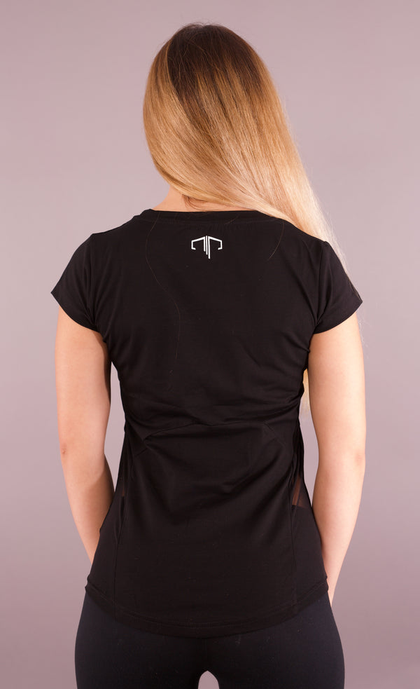 Performance Back Panel Tee - Black/White