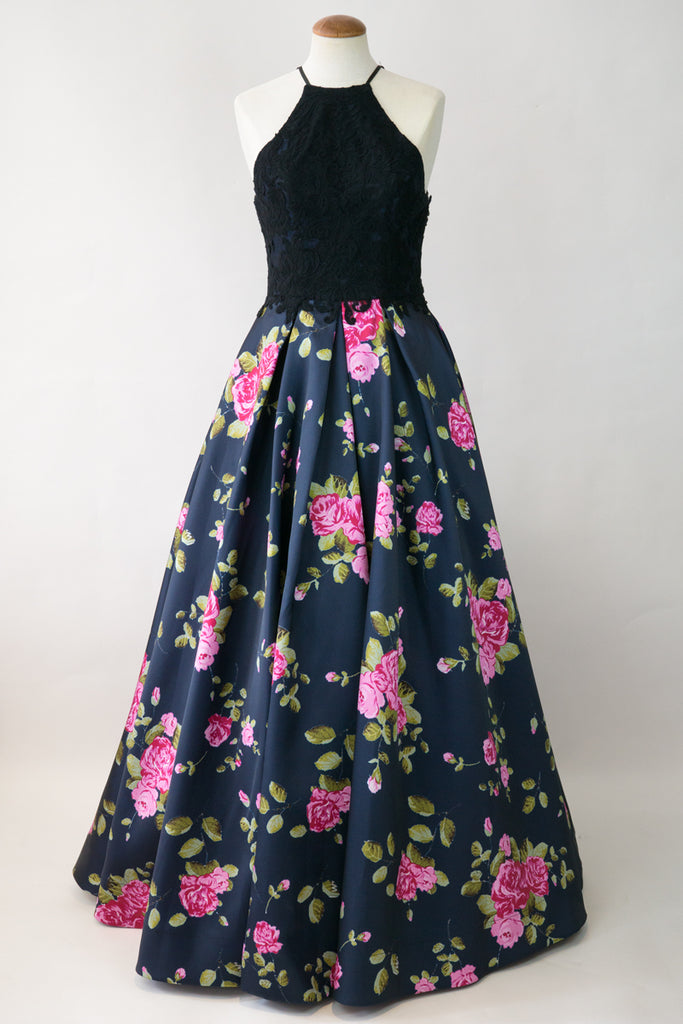 Lace Halter Top Floral Skirt Ball Gown (Black) – GOWNTOWN