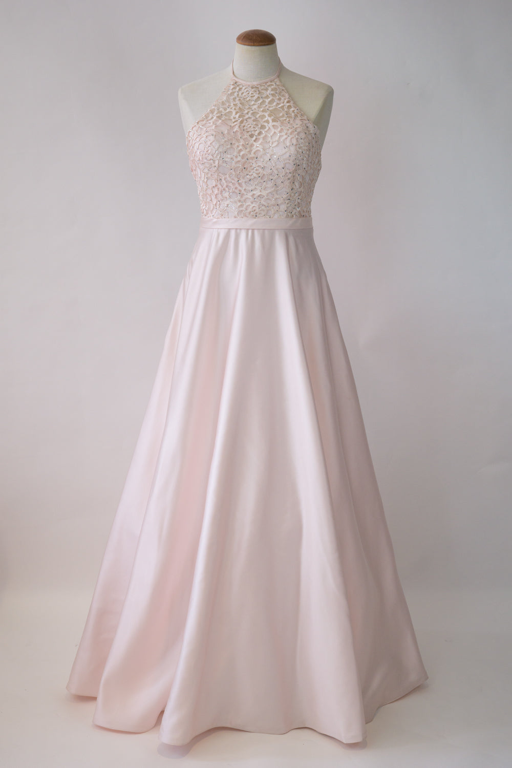 Light Pink Lace Sheer top Halter with Satin Ball Gown Skirt – GOWNTOWN