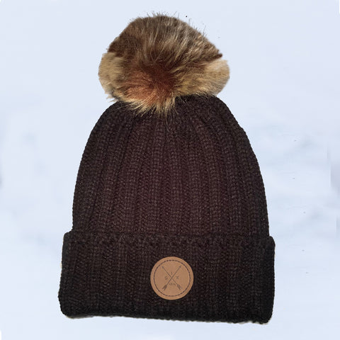 Image of Black Pom Pom Beanie