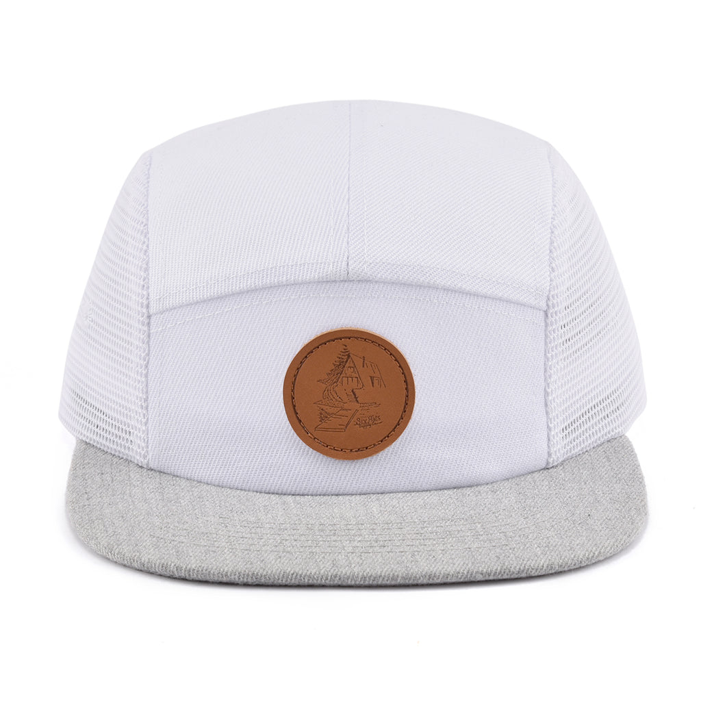White & Grey Cottage 5 Panel Hat