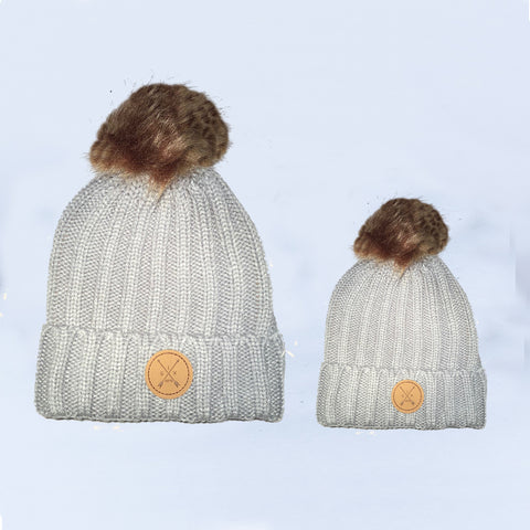 Image of Grey Pom Pom Beanie