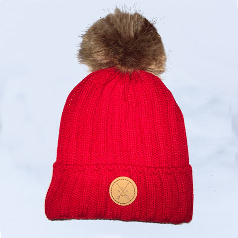 Image of Red Pom Pom Beanie