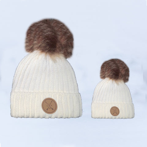 Image of White Pom Pom Beanie