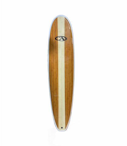 Epoxy 8' CA Performance Bamboo longboard surfboard fun board w/ fins
