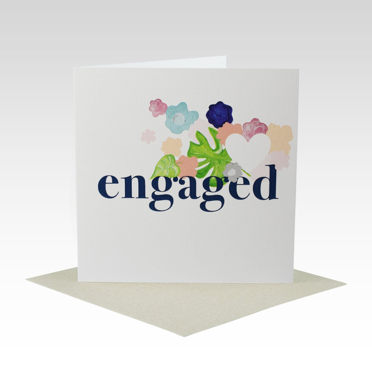 BOLD FLORAL ENGAGEMENT CARD