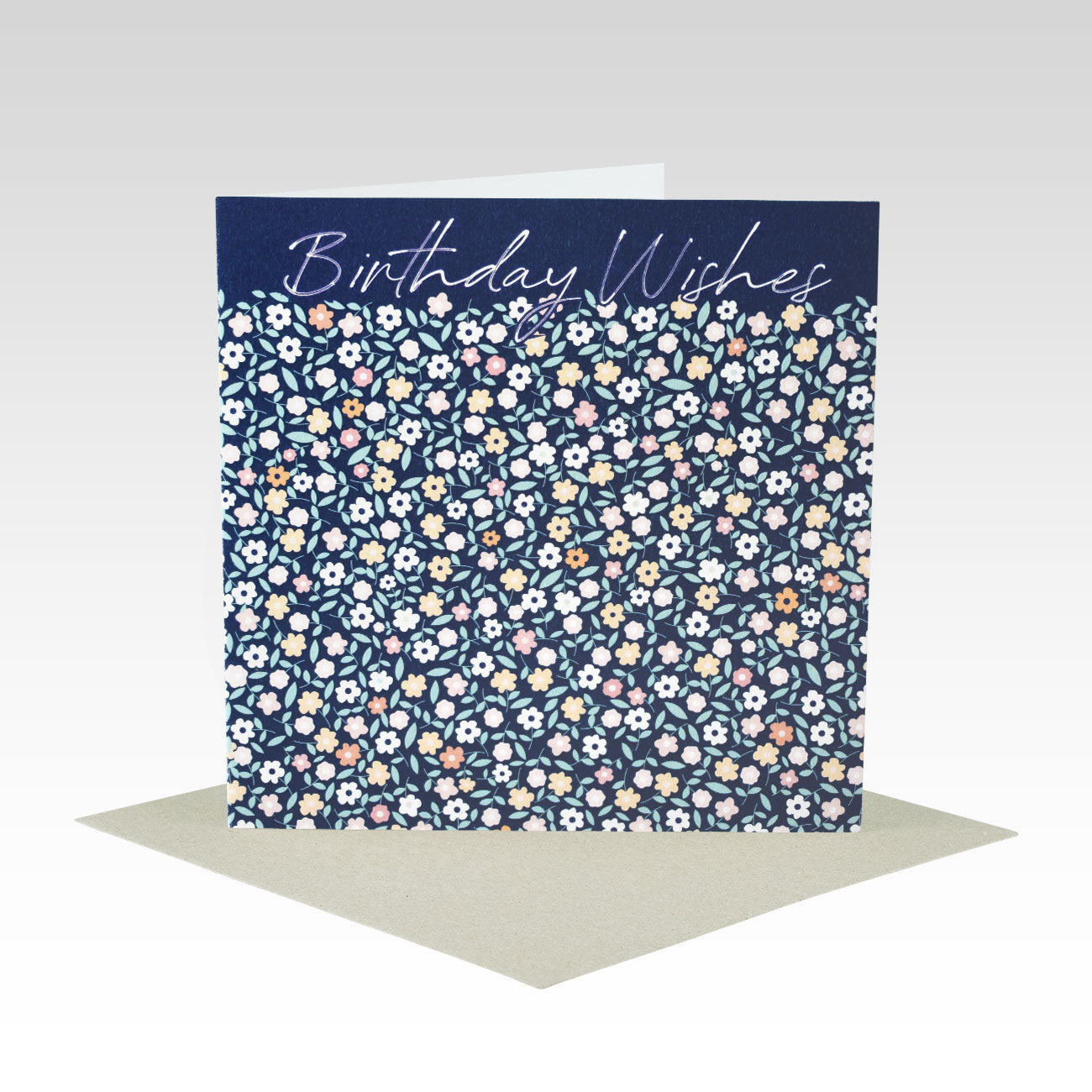 NAVY SMALL FLORAL BIRTHDAY WISHES CARD