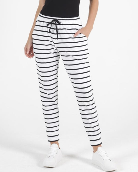 HEIDI PANT - WHITE/BLACK STRIPE