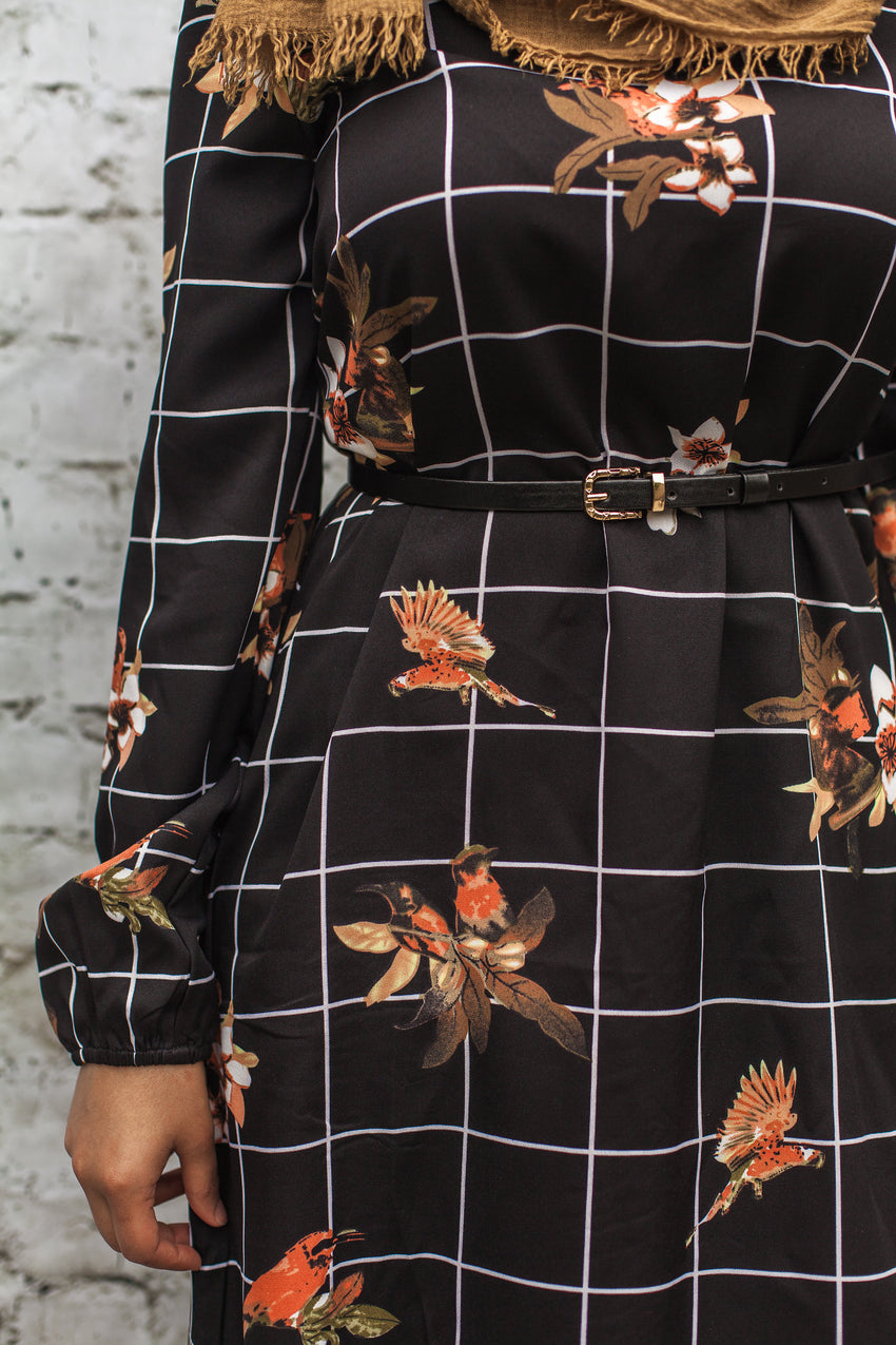 The Floral Grid Ruffle Midi - Diamonds in the Rough Fashion