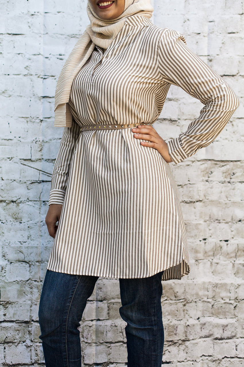 Beige Pinstripe Tunic - Diamonds in the Rough Fashion
