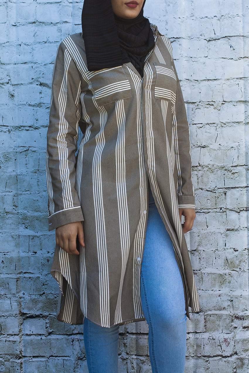 Classic Button Down Tunic-Taupe