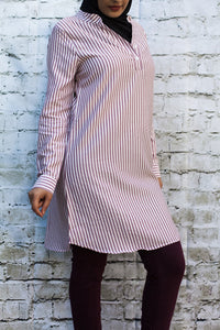 Maroon Pinstripe Tunic - Diamonds in the Rough Fashion