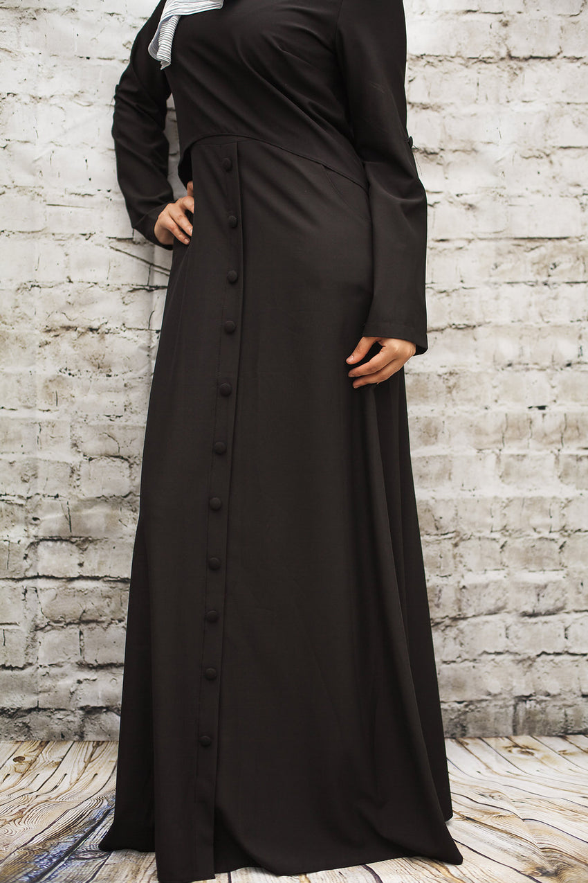 Black Maxi with Buttons - Diamonds in the Rough Fashion