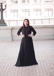Black Chiffon Button Down Dress - Diamonds in the Rough Fashion