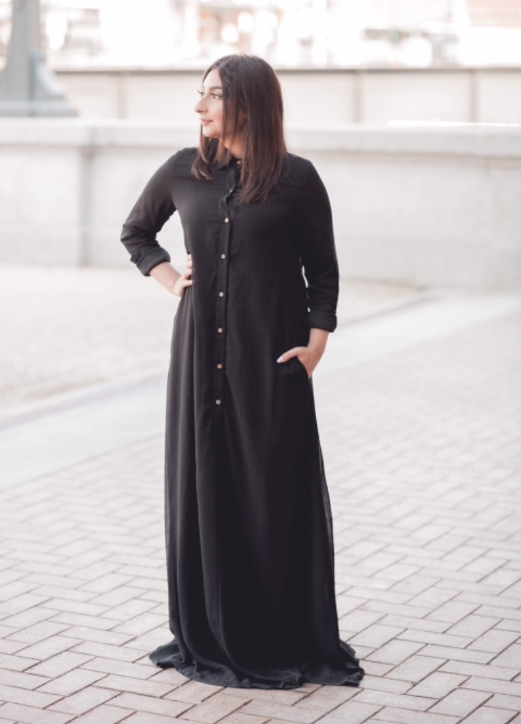 Black Chiffon Button Down Dress