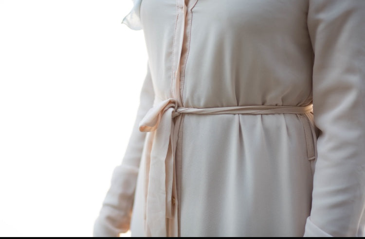 Cream Chiffon Button Down Dress