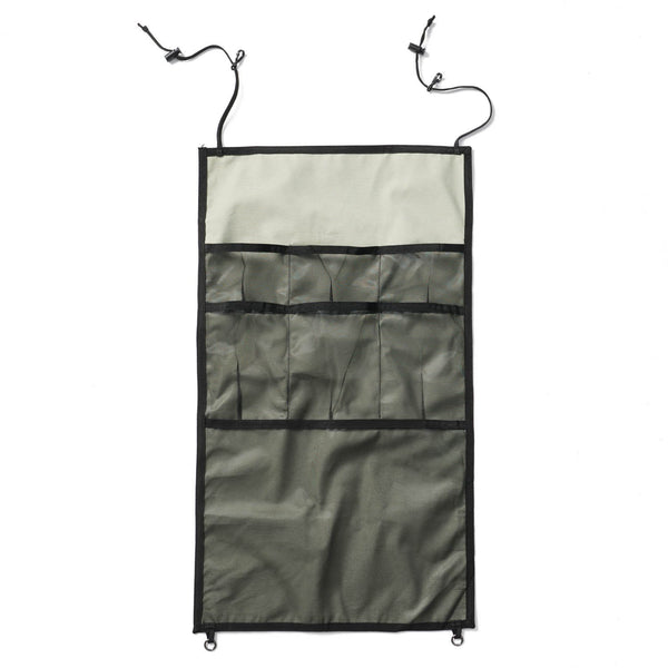 Springbar hanging organizer for canvas tents