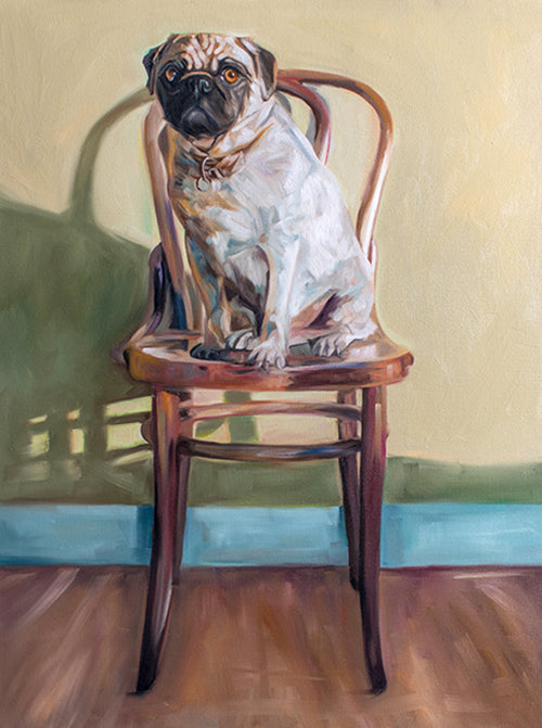 Pug and Antique Wooden Chair