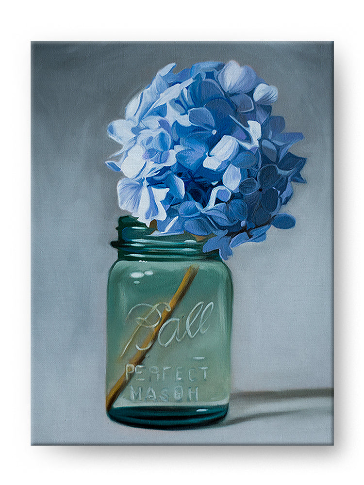 Antique Jar of Blue Hydrangeas Oil Painting Art Print
