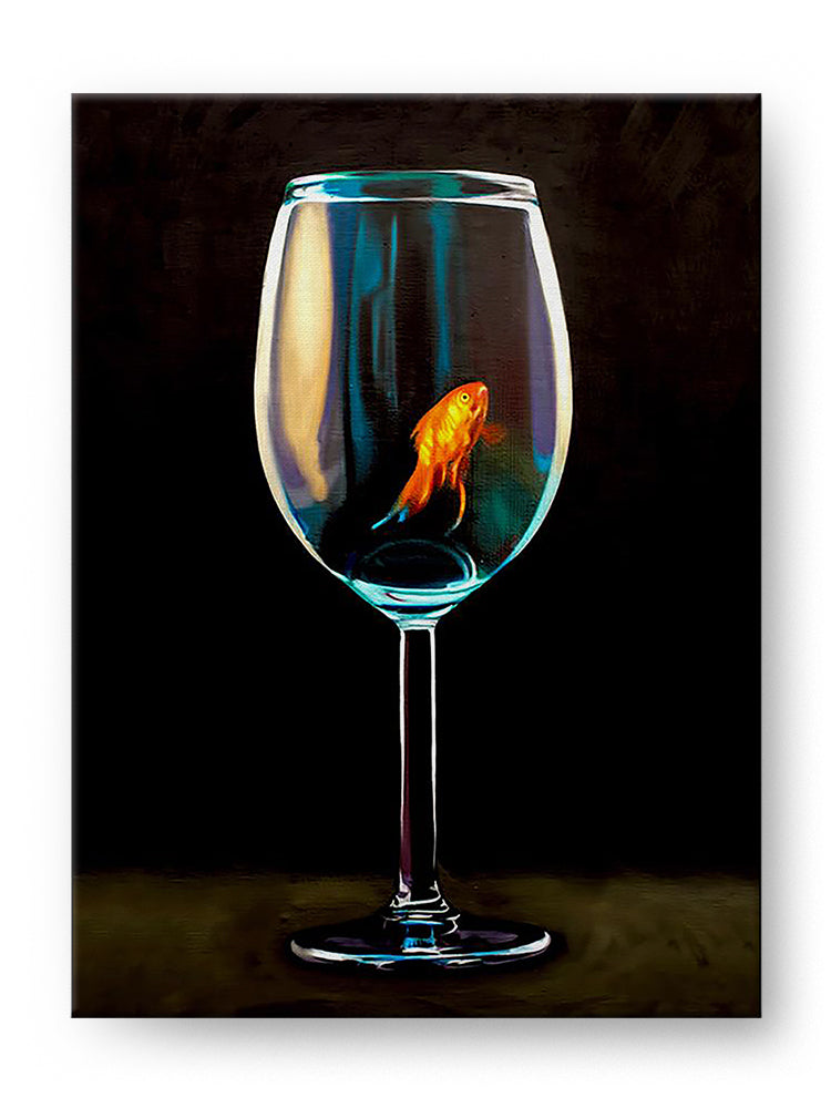 Goldfish Wine Glass Gallery Mounted Canvas Fine Art Print - Whimsical Wild Artwork