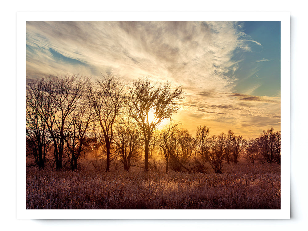 Dusty Country Sunset Landscape Photo Print - Whimsical Wild Artwork