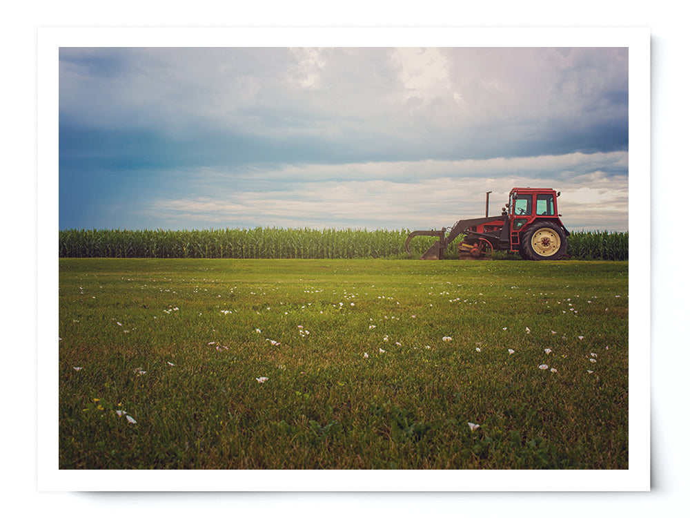 Old Tractor Landscape Photo Print