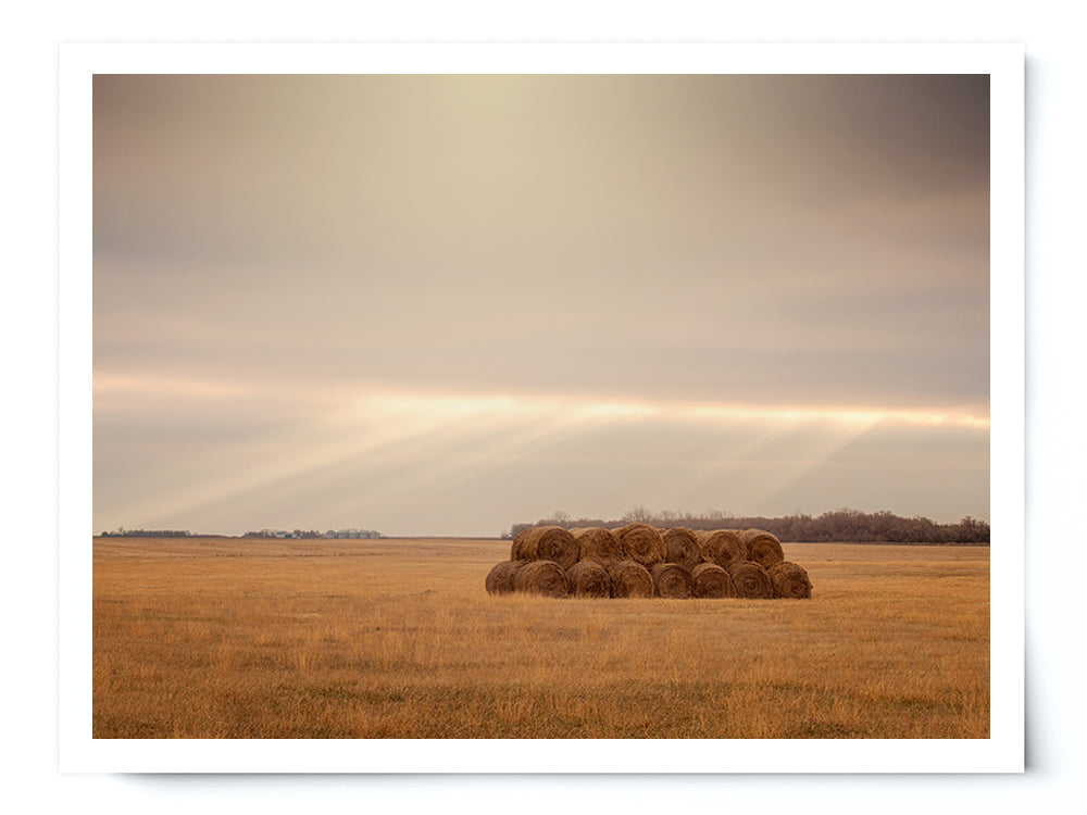 Country Hay Bales Landscape Photo Print - Whimsical Wild Artwork