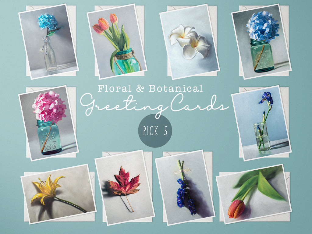 Floral and Botanical Painting Greeting Cards, Choice of 5 Cards - Whimsical Wild Artwork