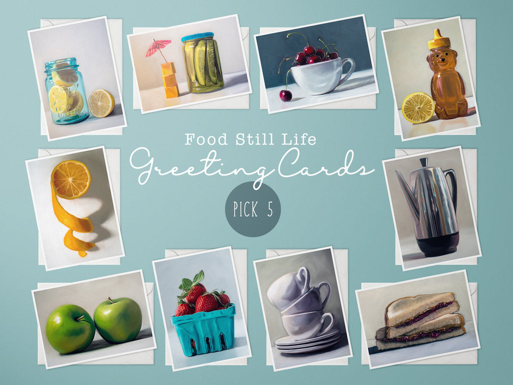Food Still Life Painting Greeting Cards, Choice of 5 Cards - Whimsical Wild Artwork