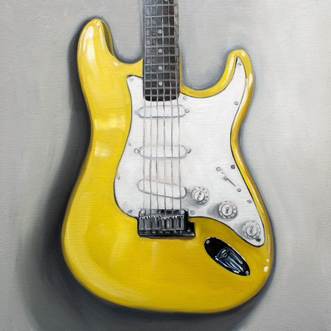 Canary Yellow Stratocaster Guitar Original Oil Painting - Whimsical Wild Artwork