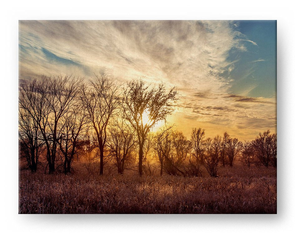 Dusty Country Sunset Gallery Mounted Canvas Landscape Photo Print - Whimsical Wild Artwork