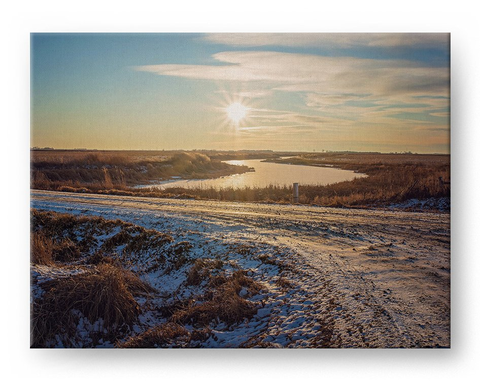 Winter Sunset Gallery Mounted Canvas Landscape Photo Print