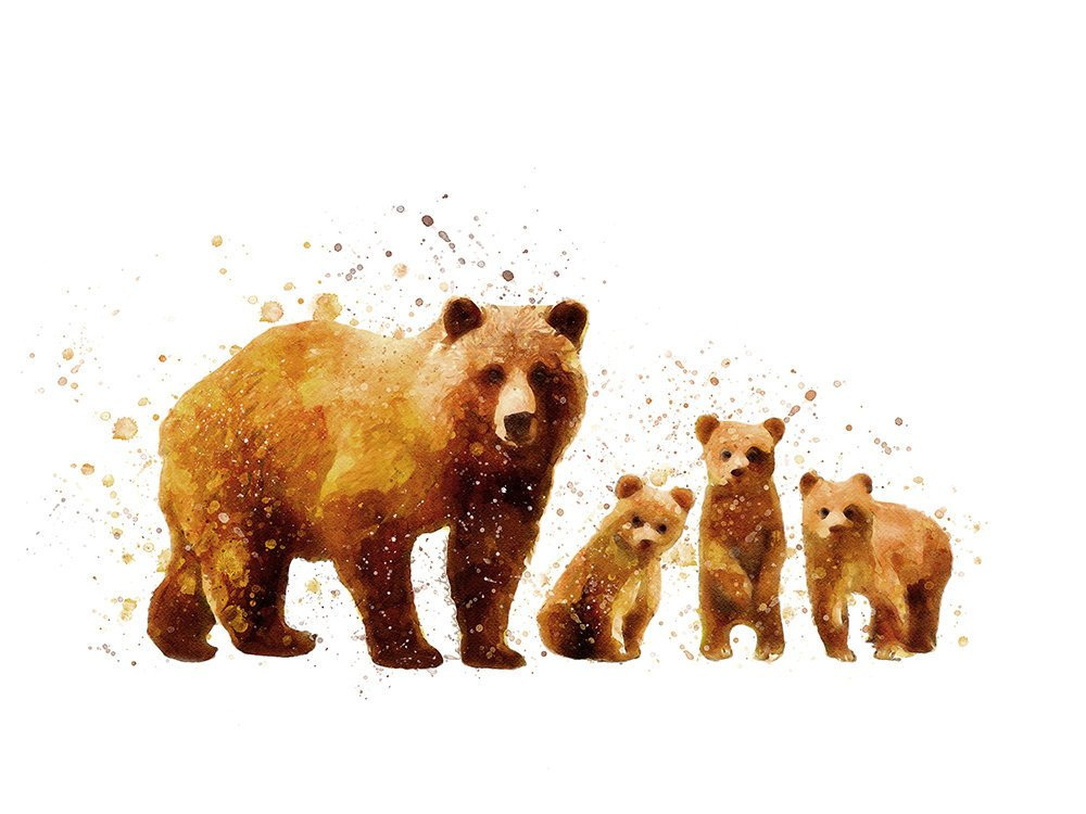 Grizzly Bear and Cubs Family Watercolor Animal Print