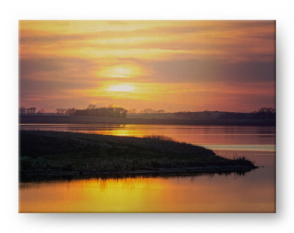 Golden Sunset Gallery Mounted Canvas Landscape Photo Print - Whimsical Wild Artwork