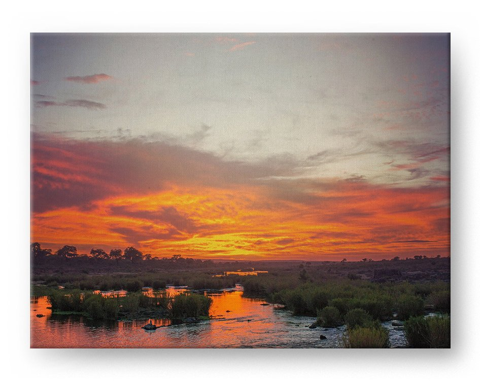 Africa Sabie River Gallery Mounted Canvas Landscape Photo Print - Whimsical Wild Artwork