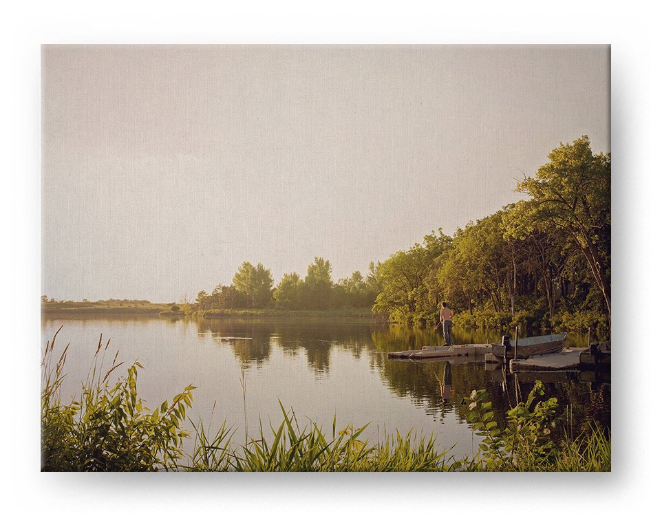 Calm Lake Sunset Gallery Mounted Canvas Landscape Photo Print - Whimsical Wild Artwork