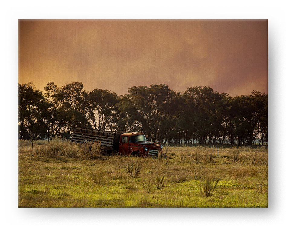Vintage Country Truck Gallery Mounted Canvas Landscape Photo Print