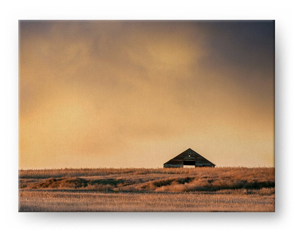 Abandoned Barn Gallery Mounted Canvas Landscape Photo Print - Whimsical Wild Artwork