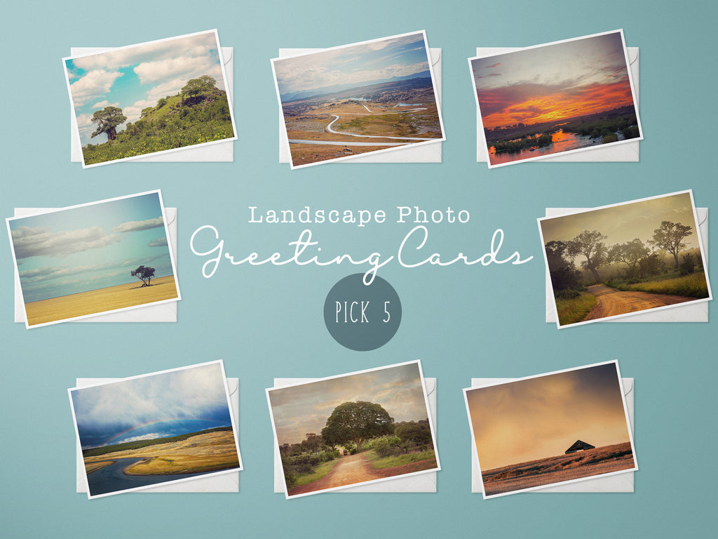 Landscape Photography Greeting Cards, Choice of 5 Cards