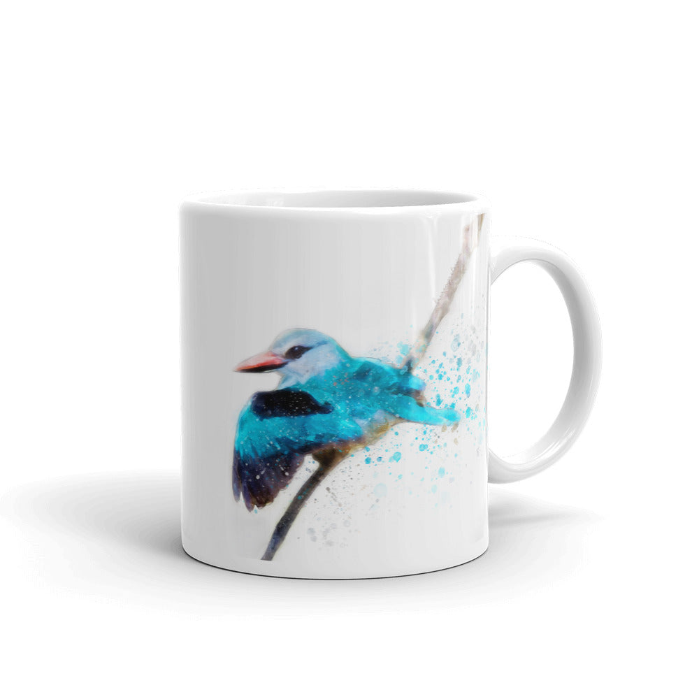 Woodland Kingfisher Watercolor Painting Coffee Mug
