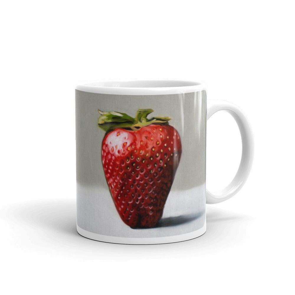 Single Strawberry Painting Coffee Mug