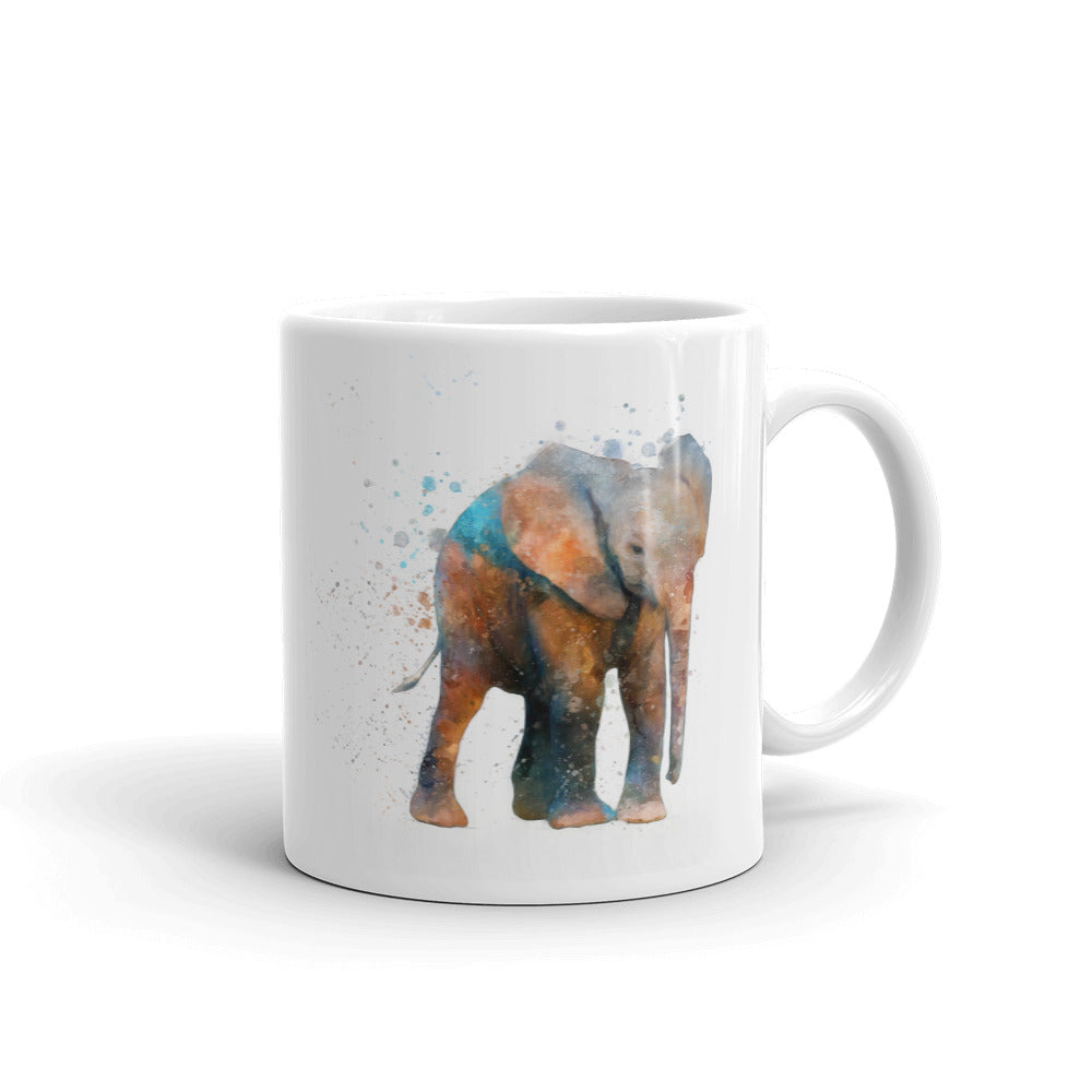 Baby Elephant Watercolor Painting Coffee Mug - Whimsical Wild Artwork