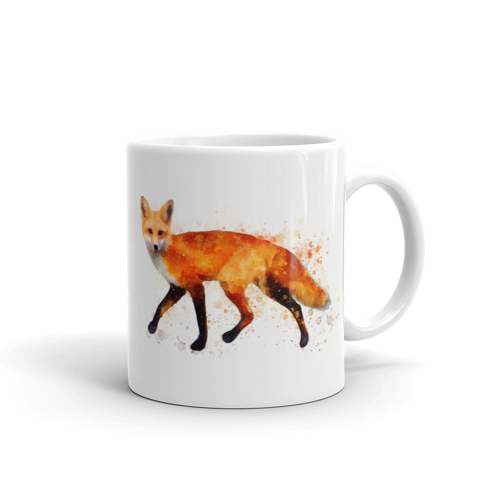 Running Fox Watercolor Painting Coffee Mug