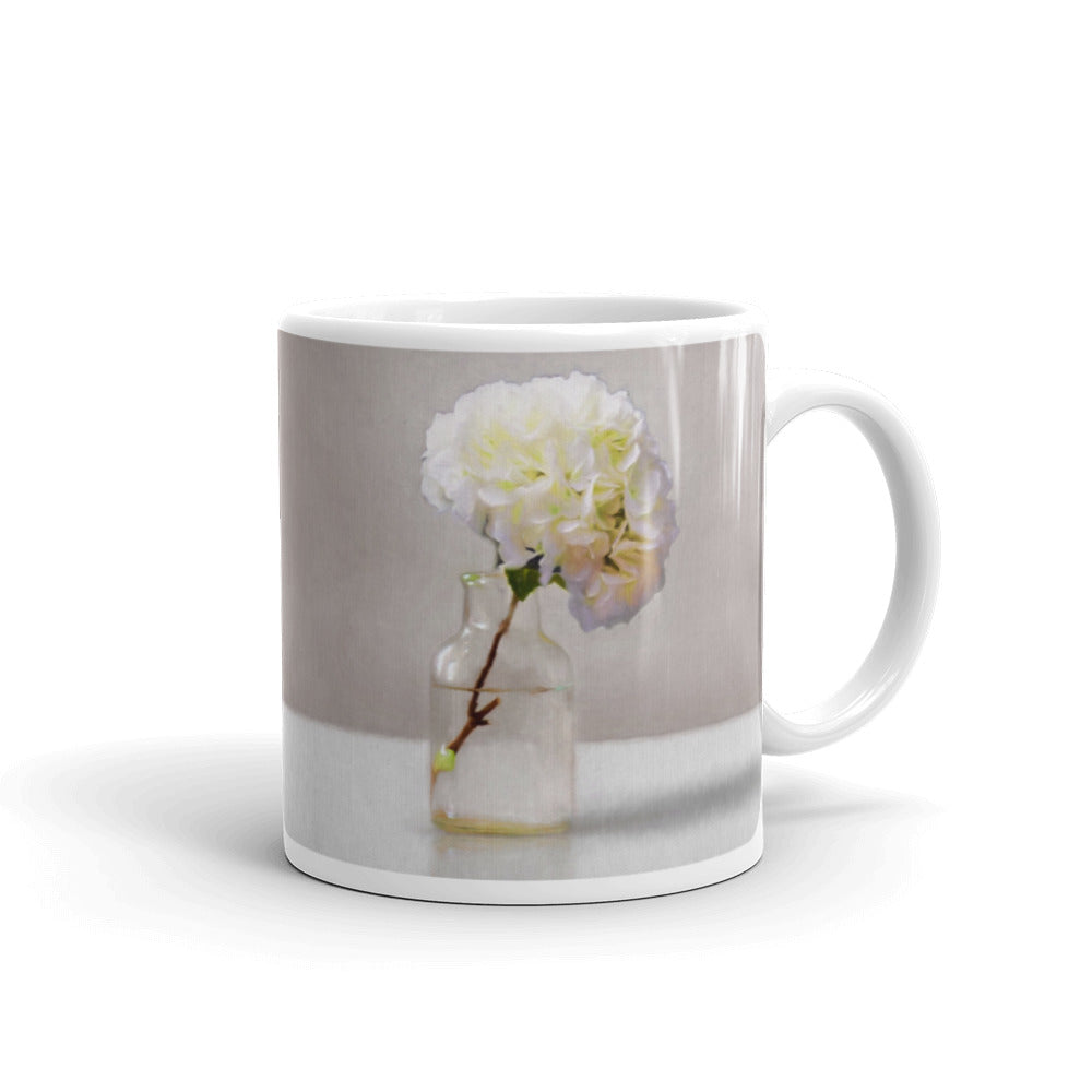 White Hydrangeas Painting Coffee Mug