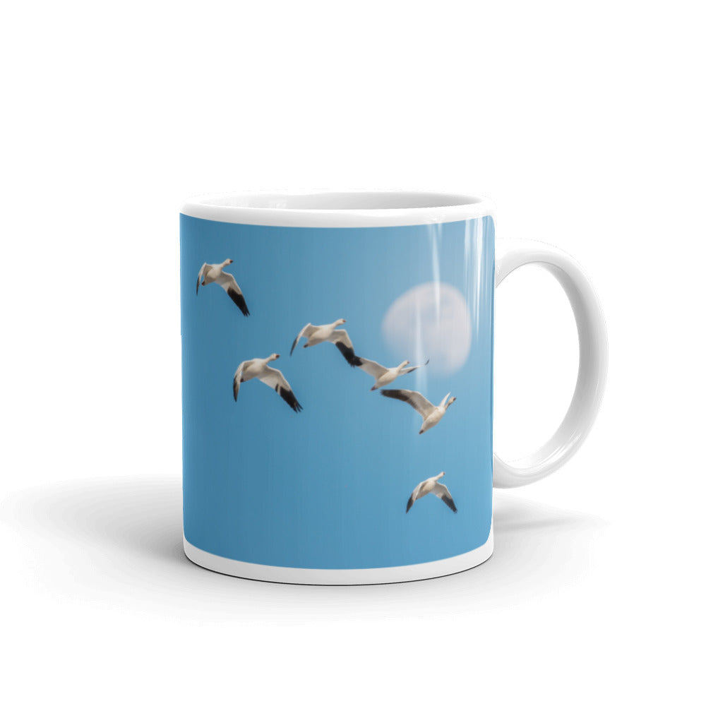 Snow Geese and the Moon Photo Coffee Mug